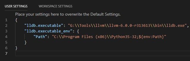 Visual Studio Code LLDB user settings