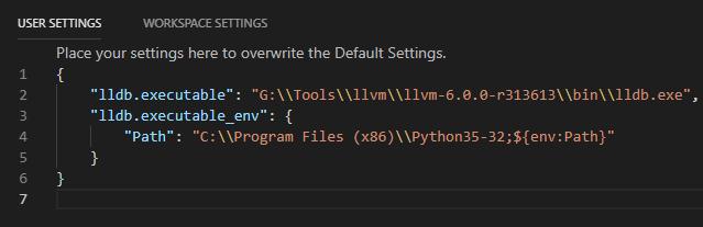Visual Studio Code LLDB user settings